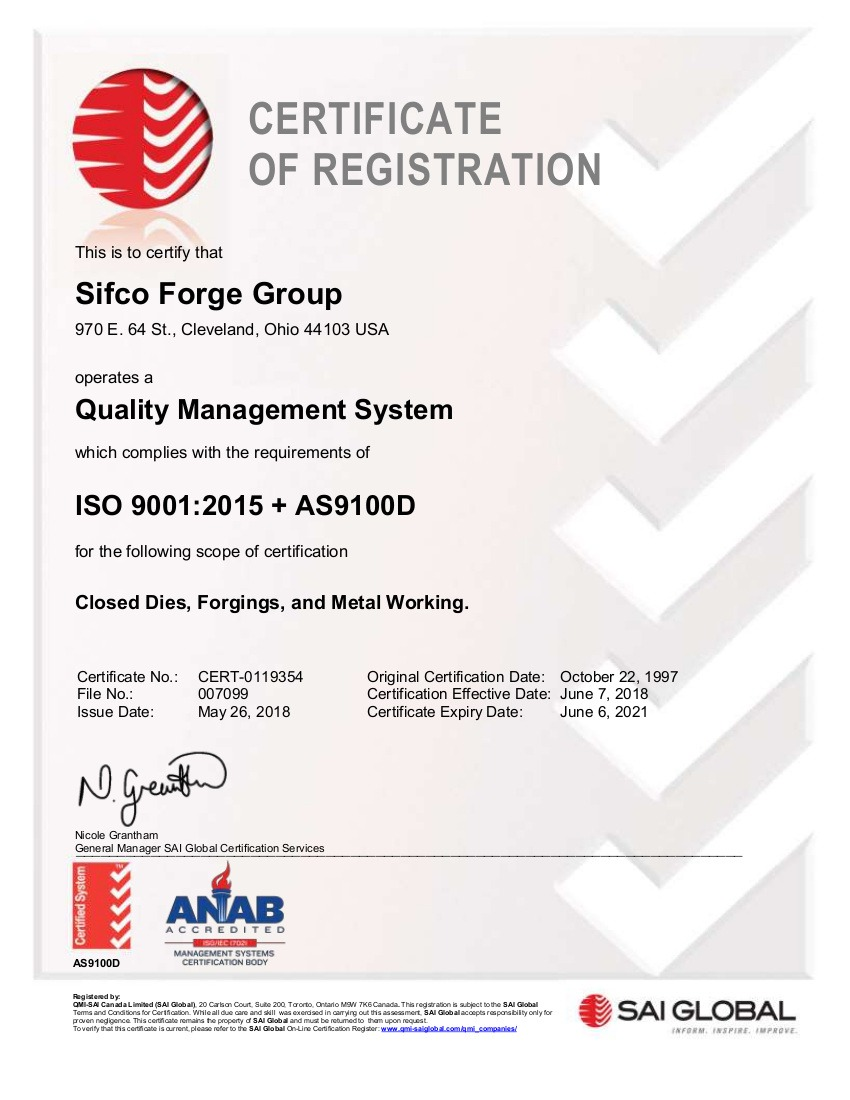 SIFCO 2018 ISO 9001 + AS9100D Certificate 0119354