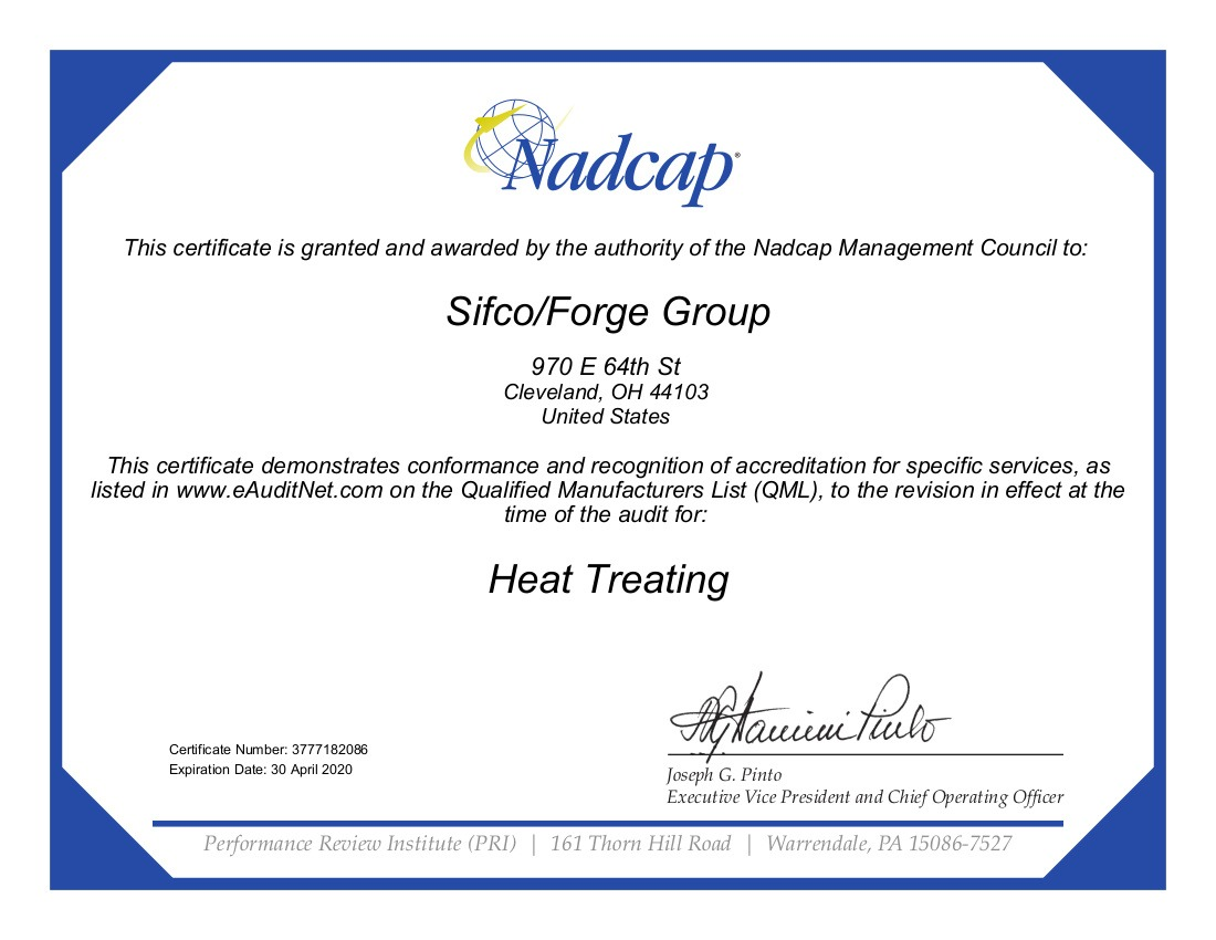 SIFCO 2018 HT Certificate 182086