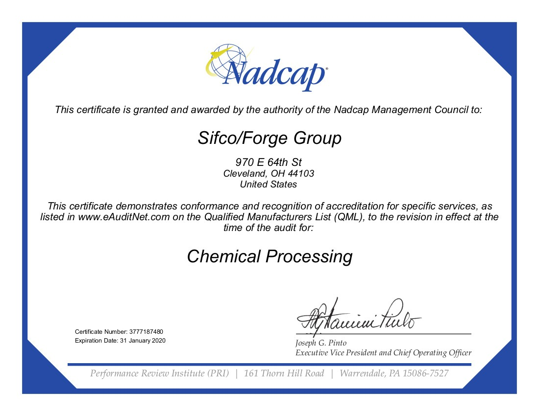 SIFCO 2018 Chemical Processing Cert